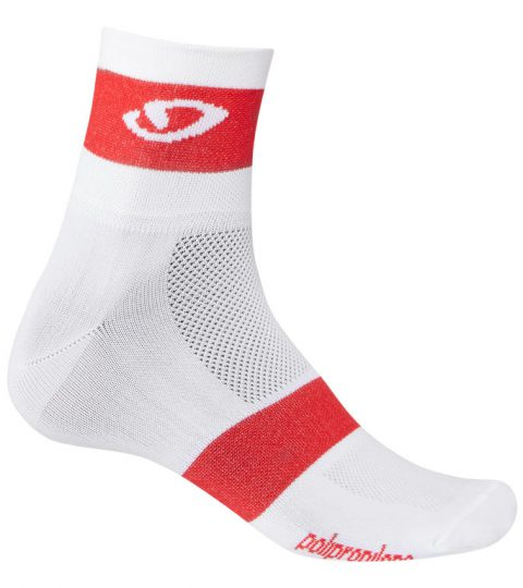 calcetines giro ankle blanco rojo