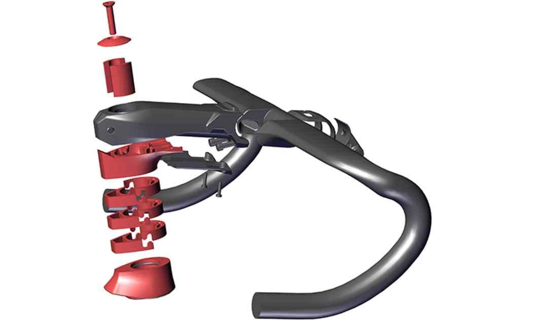 Ajuste El diseño modular en dos piezas permite al ciclista ajustar fácilmente la rotación del manillar. Tanto la altura como el avance también se pueden ajustar con precisión: • 4 longitudes de potencia • 3 anchuras de manillar • 2 espaciadores • Sistema Puzzle Spacer