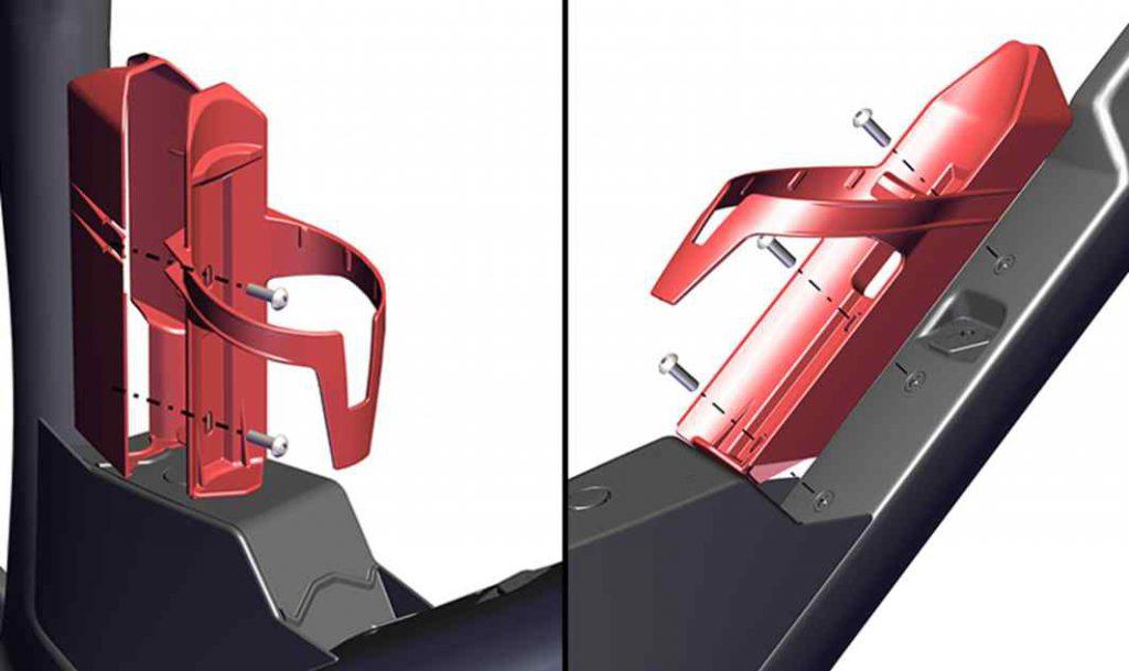 Integración del portabidón Nos hemos asociado con los expertos de Elite para diseñar unidades de hidratación fiables que no solo coinciden con nuestros requisitos de diseño, sino que también aportan durabilidad en todas las condiciones de conducción. • Desarrollado junto a Elite • Diseñado para bidones de 550 ml • Compatible con portabidones estándar