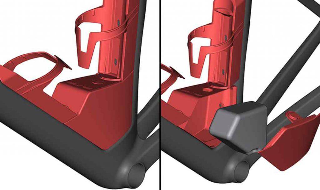Integración de almacenamiento Diseñado en colaboración con Elite, el Aero Box mejora el flujo de aire y la estética a la vez que proporciona un almacenamiento esencial. El bajo centro de gravedad garantiza un mejor manejo en comparación con el almacenamiento con bolsa en el sillín. El Aero Box se puede retirar para cumplir con las normas de la UCI.